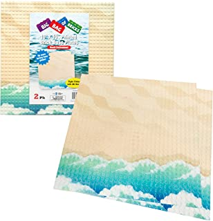 """SCS Direct Brick Building Base Plate with Beach Pattern - Large 10""""x10"""" Dual Sided Beach Baseplates (2 Pack) for Activity Table"""
