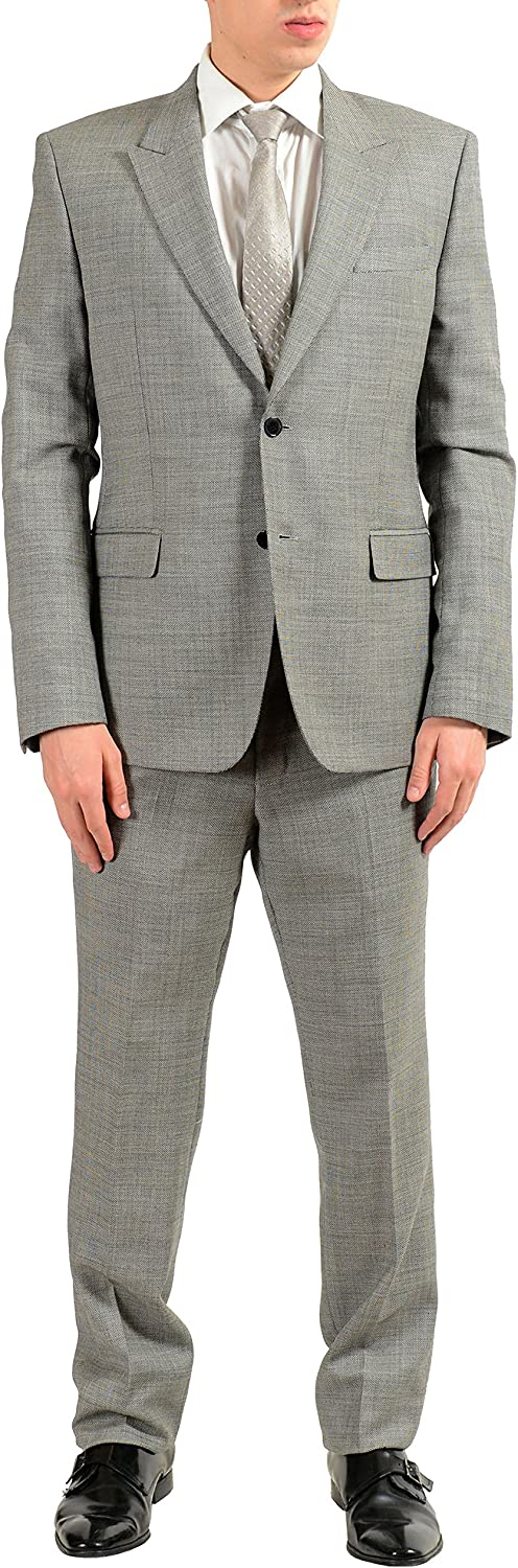 Versace Collection Men's 100% Wool Gray Two Button Suit Size US 40 IT 50