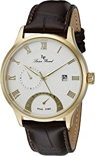 Lucien Piccard Men's LP-10339-YG-02S-BRW Volos Gold-ToneIon-Plated Stainless Steel Watch with Brown Leather Strap