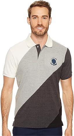 Slim Fit Striped Short Sleeve Pique Polo Shirt