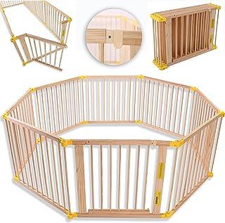 KIDUKU® Parque de bebé XXL 8 Piezas Corralito plegable puerta incluida, forma individual