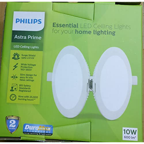Philips AstraPrime 10-Watt Recessed LED Panel Ceiling Light (Cool Day Light, Round)