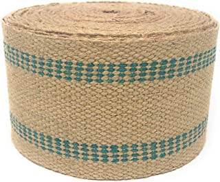 Jute Webbing for Upholstery & Crafts (Green Stripe, 12 Yards)