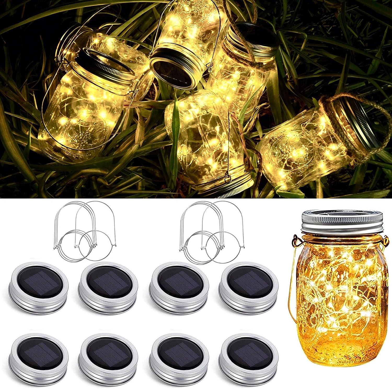 FELISHINE Solar Mason Jar Lid String Lights