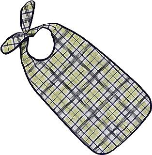 PFLEGE-POINT Kleidungsschutz/Ess-Schürze für Erwachsene mit Steckverschluss, wasserdicht blau-beige