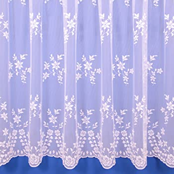 Gloria Floral Net Curtain In White Sold By The Metre Multiple Drops
