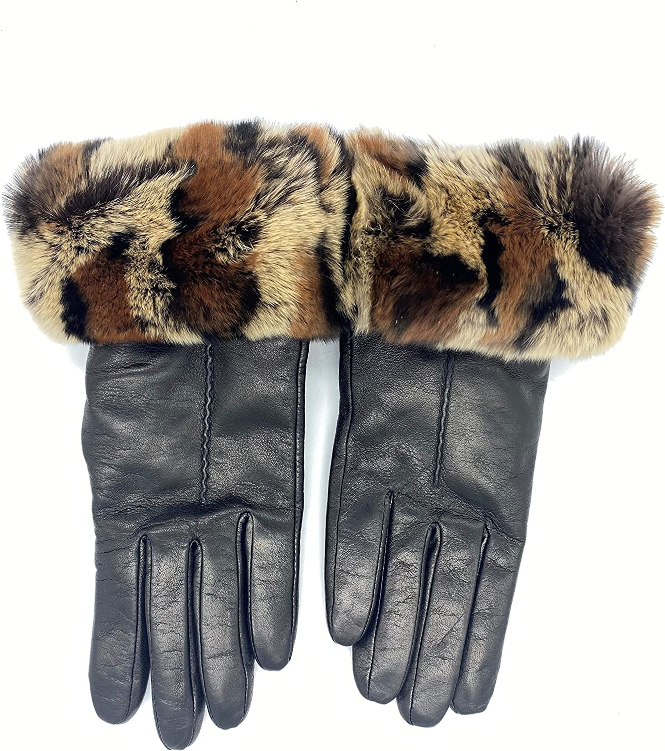 Women's Leather Gloves Made In Italy Rabbit Fur Cuff Cashmere Lined (Medium, 7)