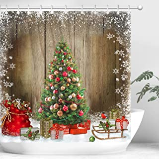 Merry Christmas Shower Curtain Set, Xmas Tree with Christmas Balls Xmas Gifts Snowsflakes Decorative Bathroom Curtain Accessories Set, Waterproof Shower Curtains With 12 Hooks, 70.8 By 70.8 Inches