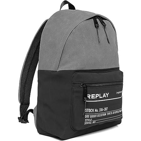 Replay Herren FM3504 Rucksackhandtasche, 1447 Black-Mouse Grey, UNIC