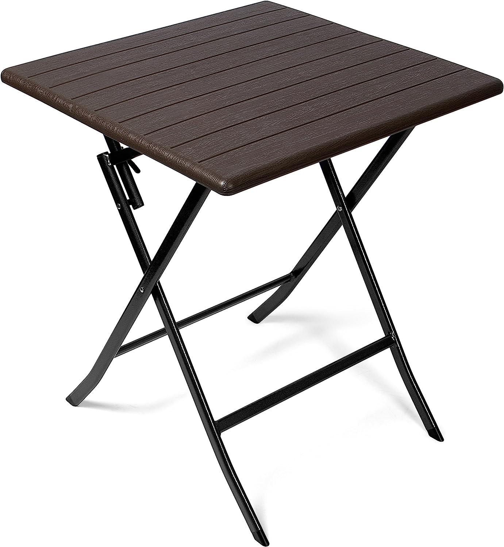 Vanage Beistelltisch in braun   eckiger Gartentisch in Holzoptik    Kunststofftisch für Garten, Terrasse und Balkon geeignet   Bistrotisch mit  ...