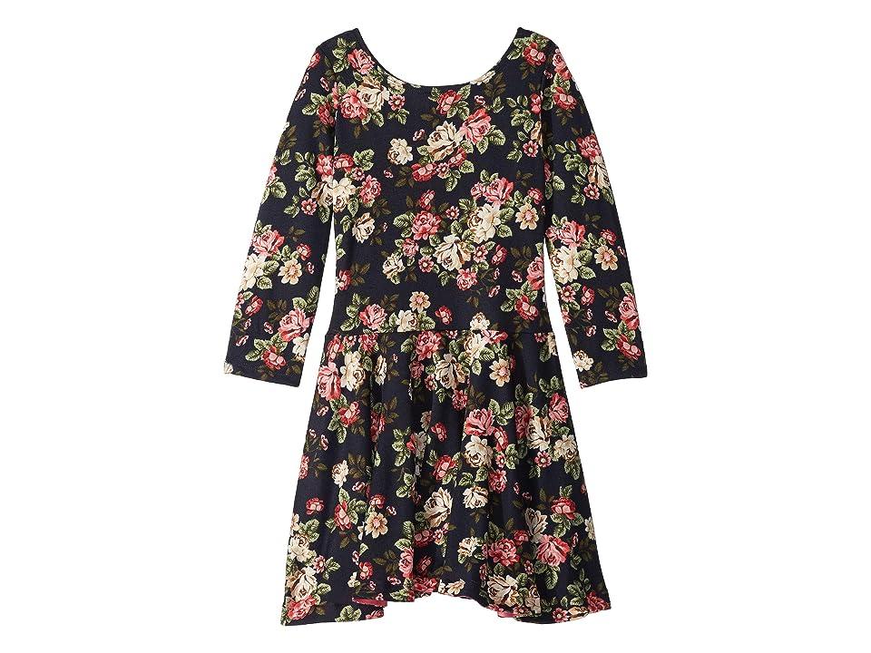 fiveloaves twofish Judy Floral Knit Dress (Toddler/Little Kids/Big Kids) (Navy) Girl