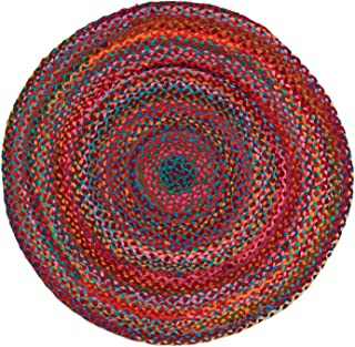 HF by LT Cotton Carnivale Braided Round Rug, 3', Multi-Colored