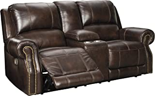 Signature Design by Ashley Buncrana Power Reclining Loveseat with Console, Chocolate