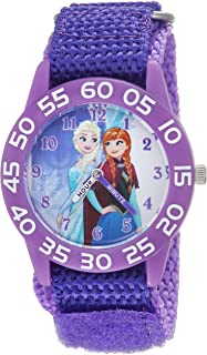 DISNEY Girls Frozen Analog-Quartz Watch with Nylon Strap, Purple, 16 (Model: WDS000319)