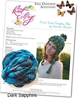 Knit Collage Pixie Dust Earflap Hat Kit (Plus free Designer Additions!) (Dark Sapphire)