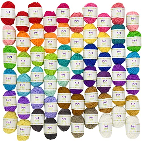 Mira Handcrafts 60 Knitting Yarn Bonbons - Bulk Yarn for Crochet - 100% Acrylic Yarn Skeins Assorted Colors - Stylish Yarn Storage Bag Included