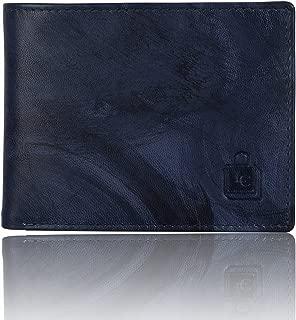 Le craf Men's Blue Genuine Leather RFID Blocking Wallet W4230329
