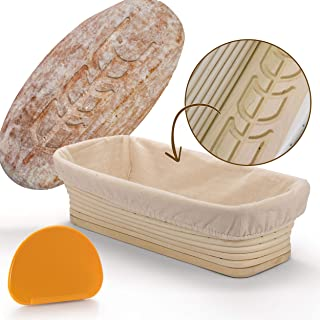 Proofing Basket with Pattern Wood Bottom all Natural Hand Made for Artisan Bread. Banneton Basket for 2 lb Boules Bread. Cloth Liner and scraper for Professional Results and Perfect Sourdough Loaf