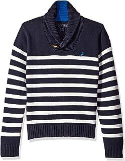 Nautica Boys' Shawl Collar 'Rockport' Striped Sweater with Neck Toggle Closure