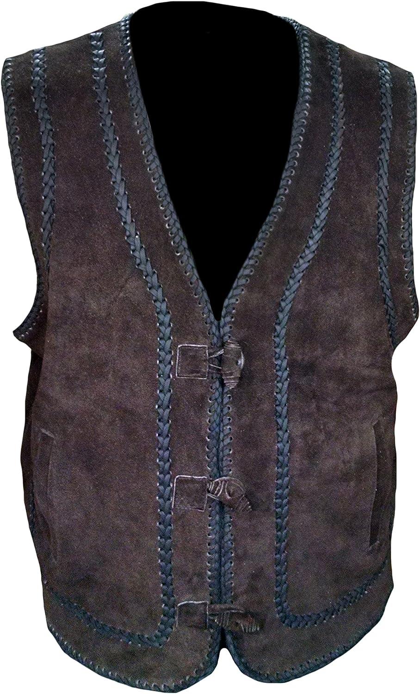 Classyak Men's Fashion Brown Suede Leather Stylish Vest