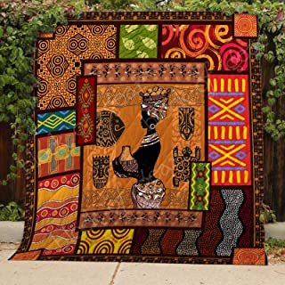 African Culture Quilt TH485, Queen All-Season Quilts Comforters with Reversible Cotton King/Queen/Twin Size - Best Decorative Quilts-Unique Quilted for Gifts