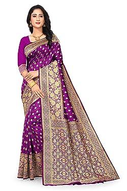 Sarees for Women Banarasi Art Silk Woven Work Saree l Indian Ethnic Wear Wedding Sari with Unstitched Blouse