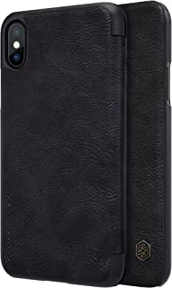 Nillkin Apple iPhone X (iPhone 10) Qin Flip Leather Case Cover - Black