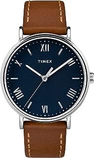 Timex Men's TW2R63900 Southview 41 Tan/Silver-Tone/Blue Leather Strap Watch