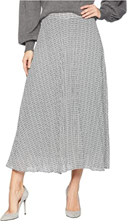 Fine Puppytooth Pleated Midi Skirt