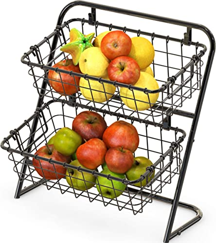 high quality SimpleHouseware high quality 2-Tier Rigid Wire Market Basket outlet online sale Stand, Black online sale