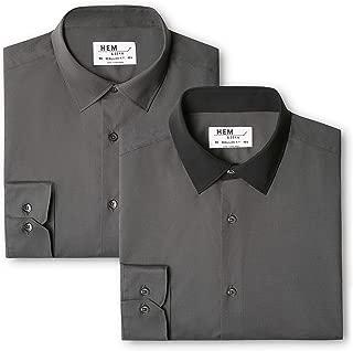 Contrast Charcoal With Black // Black Multicolor Slim Fit Collar 50 Talla del Fabricante: 15.5 paquete de 2 Camisa de Oficina para Hombre find