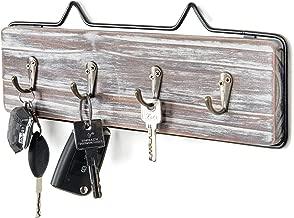 MyGift Wall-Mounted Torched Wood w/Black Metal Frame Entryway Key Hook Rack