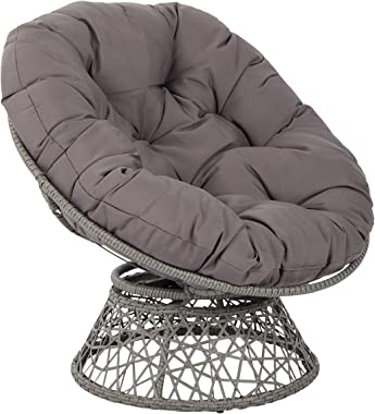 OSP Home Furnishings Papasan Chair with 360-degree Swivel, Grey Cushion Frame