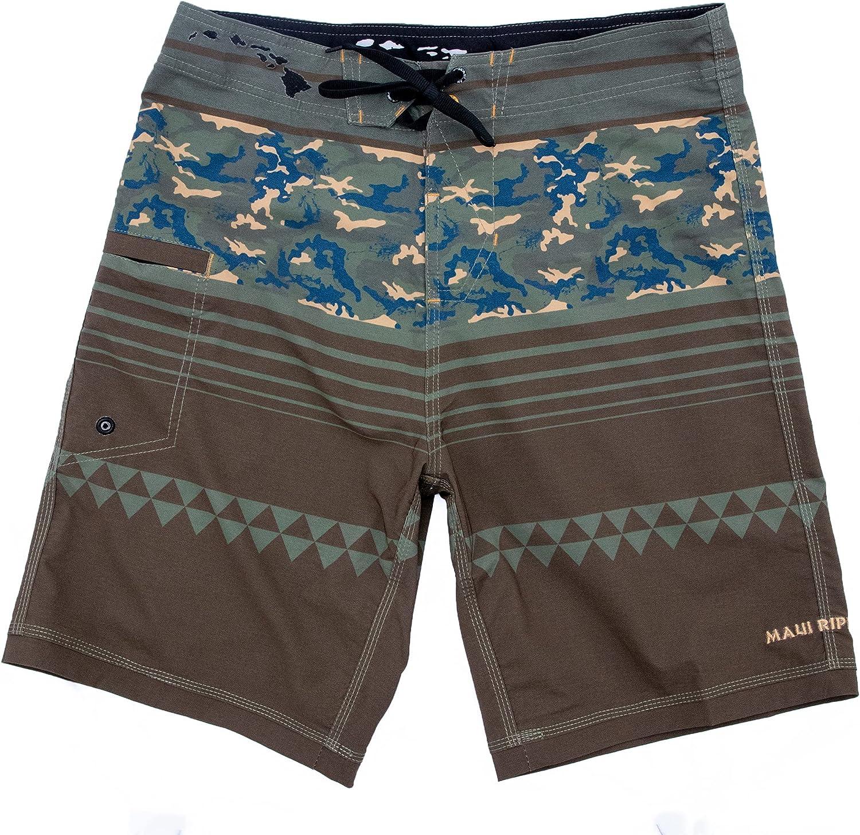 Maui Rippers Beachboy Camo Boardshorts Swimsuit for Men | 4 Way Stretch Swim Trunks & Swimwear