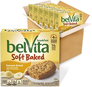 belVita Soft Baked Breakfast Biscuits, Banana Bread Flavor, 6 Boxes of 5 Packs (1 Biscuit Per Pack)