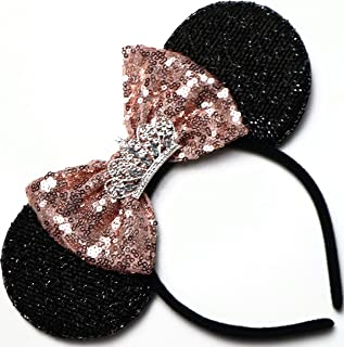 CLGIFT RoseGold Minnie Mouse Ears Headband Shiny Black Glittery Rose gold Bow Tiara Birthday Party/Disney Princess Ears/Disney Princess Ears/One Size fits Most