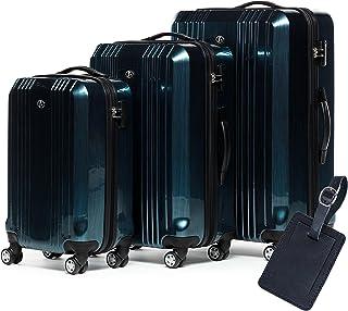 FERGÉ Set 3 valises Rigide léger + Une étiquette de Bagage Cannes Ensemble de Bagages (XL, M, 55 cm) Trolley Voyage Bleu