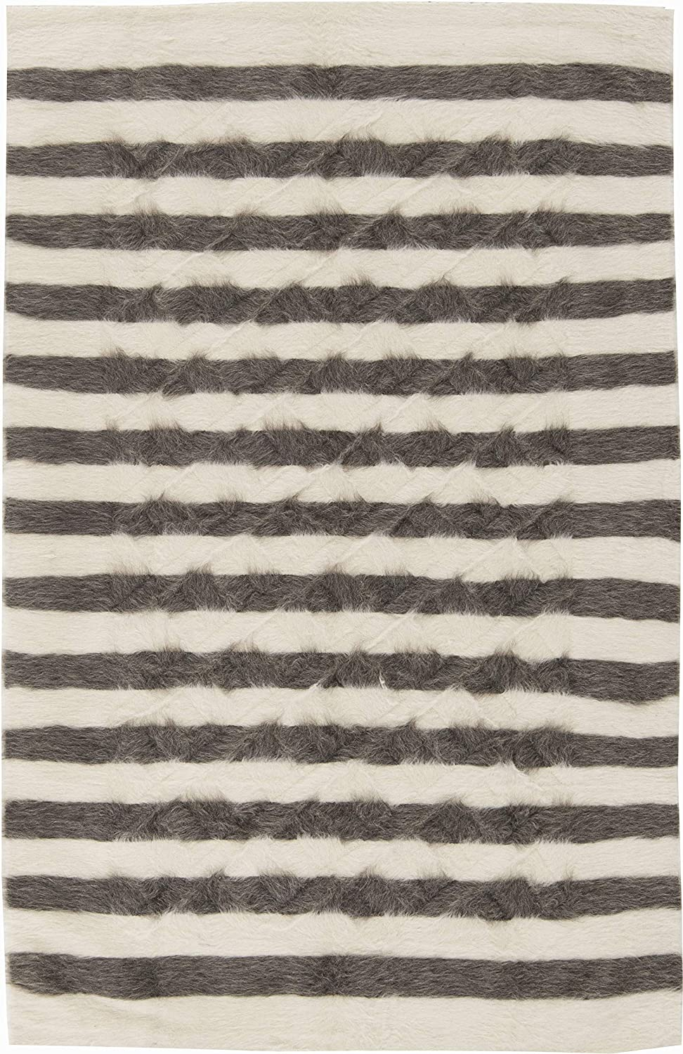 4' x 6' Modern Striped Creamy Taurus and Collect Manufacturer OFFicial shop White Direct sale of manufacturer Dark Gray