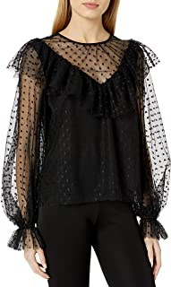 MILLY Women's Dot Tulle Victorian Top
