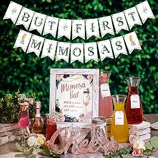 Rustic Boho Mimosa Bar Kit - Vintage Floral Bohemian Mothers Day Brunch Decor w/ Pink Burgundy Flowers Lace Rose Gold Brid...