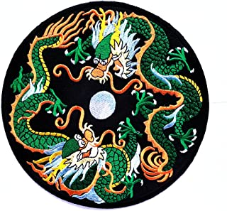 HHO Big Jumbo Black Circle Chinese Dragon Fantasy Animal Yin Yang Motorcycles Biker Logo patch Jacket T-shirt Sew Iron on Patch Sew Iron on Embroidered Applique Collection Clothing Costume DIY Patch
