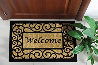 "Ottomanson Ottohome Collection Non-slip Welcome Doormat , 20"" X 30"", Beige"