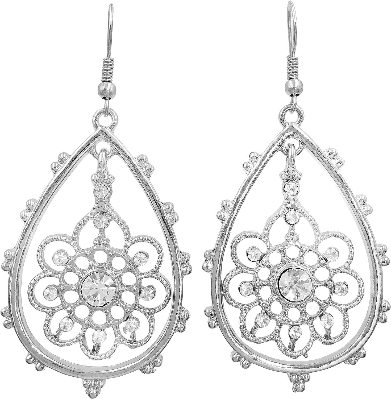 Statement Earrings Large Matte Silver Filigree Earrings Large Teardrop Earrings Bohemian Filigree Dangle Earrings Boho Moroccan Earrings