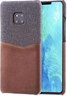 Lilware Card Wallet Plastic Phone Case Compatible with Huawei Mate 20 Pro. Fabric Texture and PU Leather Protective Cover with ID / Credit Card Slot Holder. Brown