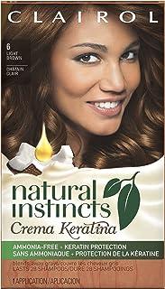 Clairol Natural Instincts Crema Keratina Hair Color Kit, Light Brown 6 Cappuccino Creme