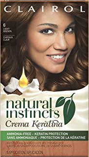 Clairol Natural Instincts Crema Keratina Hair Color Kit, Light Brown 6 Cappuccino Creme