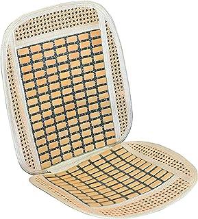 Vip - Respaldo de asiento RELAX para coche con madera de bambú. Fabricada en rafia + bambu.