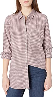 Amazon Brand - Goodthreads Women's Seersucker Long-Sleeve Boyfriend Shirt