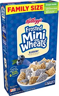 Kellogg's Frosted Mini-Wheats, Breakfast Cereal, Blueberry, Excellent Source of Fiber, Family Pack, 22oz Box(Pack of 16)