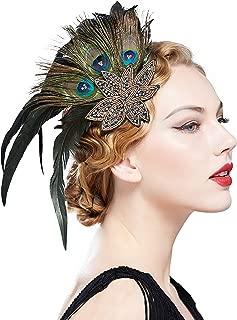 BABEYOND 1920s Flapper Hair Clip 20s Great Gatsby Hair Accessories (Peacock)